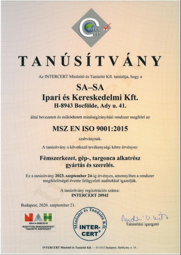 Tanúsítvány MSZ EN ISO 9001-2015   2020.09.21 - 2023.09.24.