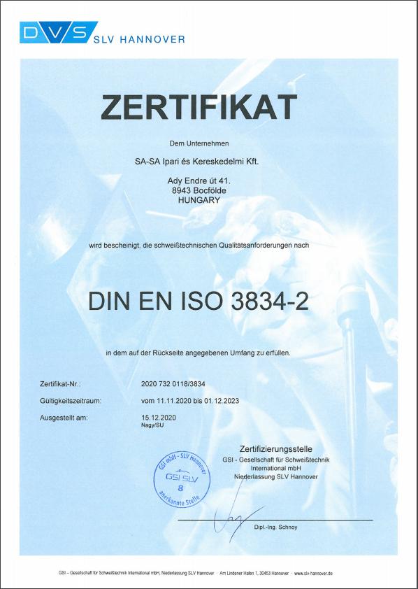 Zertifikat DIN EN ISO 3834-2  2020.11.11 - 2023.12.01
