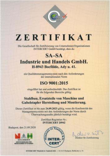 Zertifikat ISO 9001-2015   2020.09.21. - 2023.09.24
